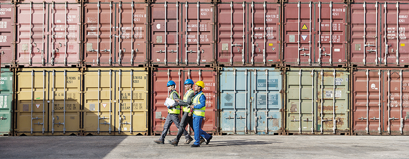Logistics Officers in shipping yard